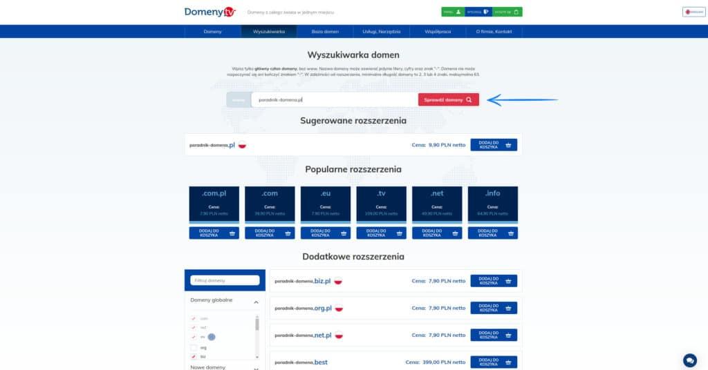 Krok 1 - Przy pomocy wyszukiwarki, znajdź swoją domenę. Zakup domeny i ustawienie DNS - Poradnik